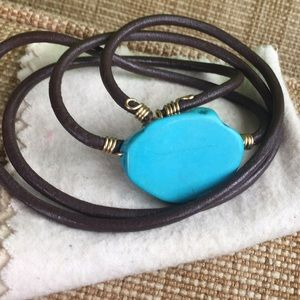 Jewelry - Brown Leather Turquoise Wrap Beacelet